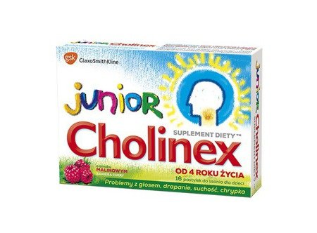 Cholinex Junior pastylki do ssania 16 sztuk